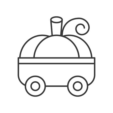 pumpkin car children toy, halloween related hollow outline icon, editable stroke