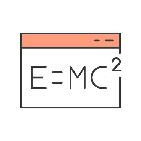 E = MC in window icon, online education concept. editable stroke outline