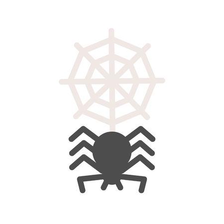 Araña con telaraña, icono relacionado con halloween