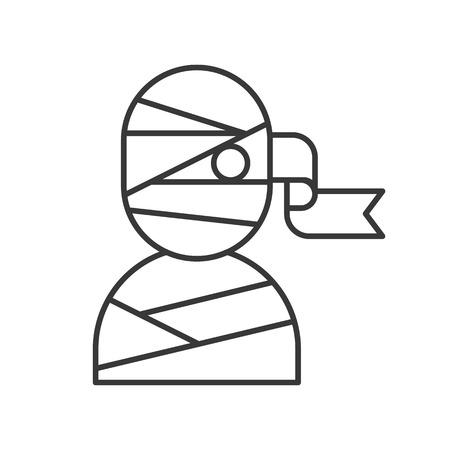 mummy icon, Halloween related, outline design editable stroke