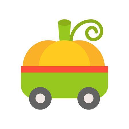 pumpkin toy car, Halloween related icon, flat design
