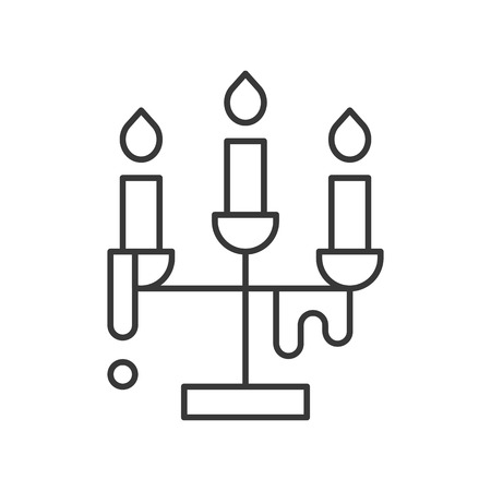 candle holder, Halloween related icon, outline design editable stroke
