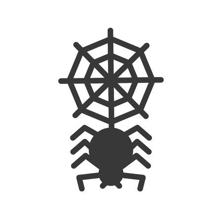 spider with spider web, halloween related icon