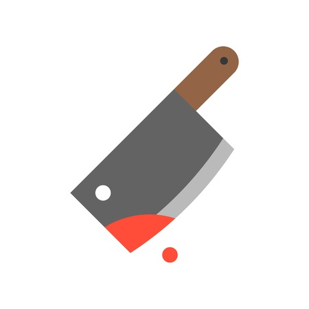 bloody cleaver murder tool, Halloween related icon Illustration
