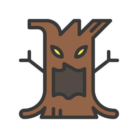 spooky tree halloween character design icon, editable stroke Stock Vector - 127632978