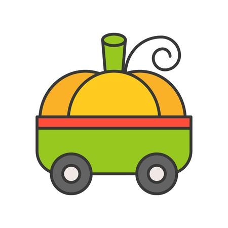 fancy pumpkin car, Halloween related icon, filled outline design editable stroke