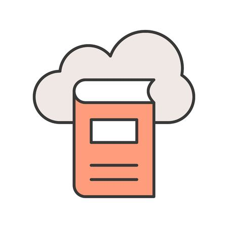 library cloud computing concept editable stroke outline icon Illustration