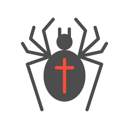 black spider and cross sign, halloween character set icon, flat design