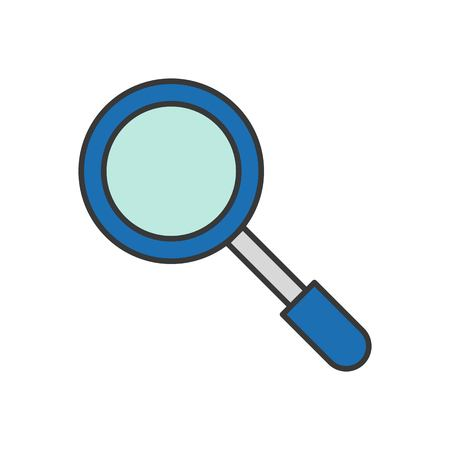 magnify glass, police related icon, editable outline stroke Illustration