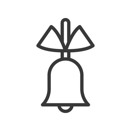 simple bell and bow, Merry Christmas theme set, outline editable stroke pixel perfect icon 일러스트