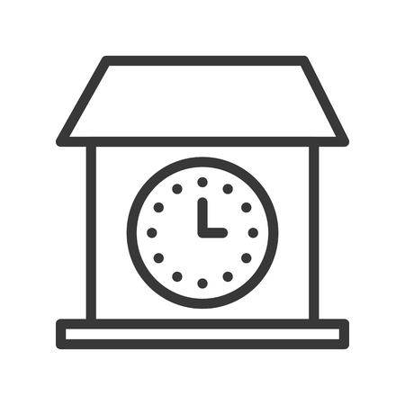 vintage house Wall clock icon, outline design editable stroke pixel perfect