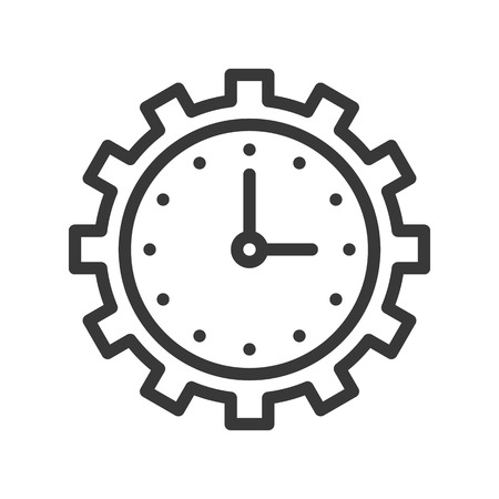 clock and gear, time management or maintain icon, pixel perfect, outline design editable stroke