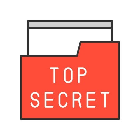 top secret file and folder, police related icon editable stroke