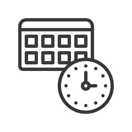 appointment time and calendar icon pixel perfect, outline editable stroke Illustration