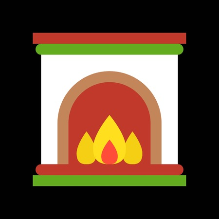 Fireplace, Merry Christmas icon set, flat design pixel perfect