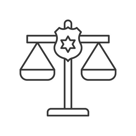 police shield on justice scale, law related icon editable stroke