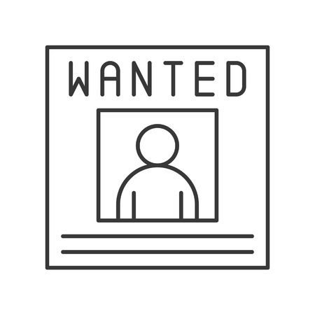 wanted poster announcement, police related icon editable stroke Illustration