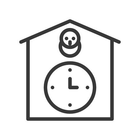 cuckoo clock icon, outline design editable stroke pixel perfect