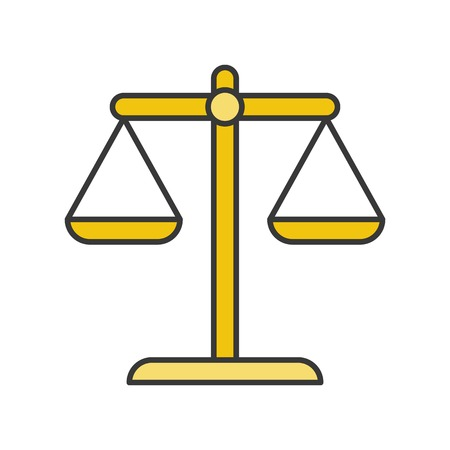 balance scale, law and justice icon, filled outline editable stroke