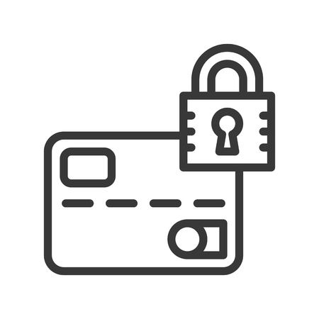 credit or debit card and lock, security icon, Bank building, bank and financial related icon, editable stroke outline
