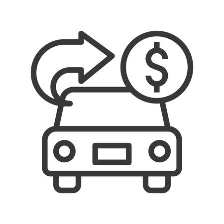 car with arrow and coin, car for cash, bank and financial related icon, editable stroke outline