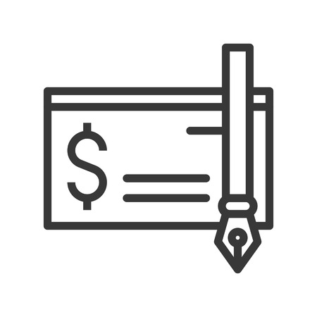 bank check and ink pen icon, bank and financial related icon, editable stroke outline