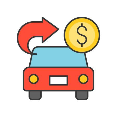 car with arrow and coin, car for cash, bank and financial related icon, filled outline editable stroke Illustration