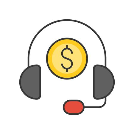 Headphone and coin, personal financial consultant service, bank and financial related icon, filled outline editable stroke Illustration