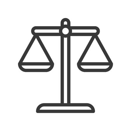 balance scale, law and justice icon, editable stroke outline