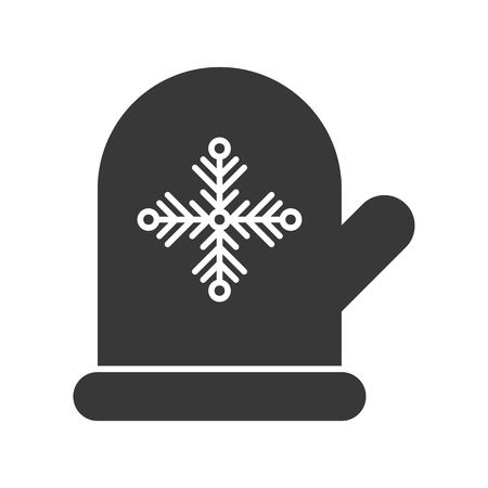 Mitten glove and snowflake symbol, Merry Christmas icon set, solid design