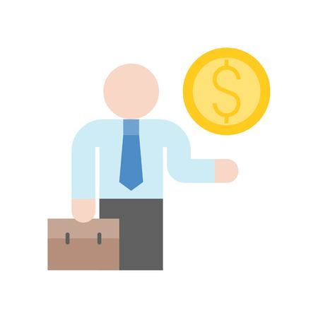 businessman carry briefcase and gold coin, investor icon, bank and financial related icon set