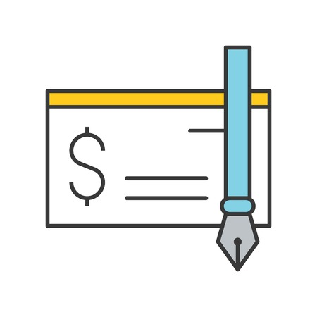 bank check and ink pen icon, bank and financial related icon, filled outline editable stroke