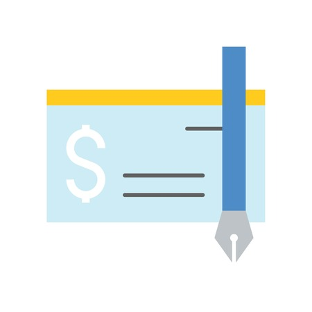 bank check and ink pen icon, bank and financial related icon