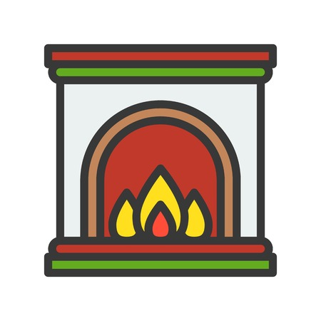 Fireplace, Merry Christmas theme set, filled outline editable stroke pixel perfect icon