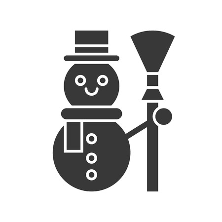 Snowman, Merry Christmas icon set, solid design