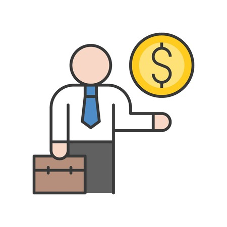 businessman carry briefcase and gold coin, investor icon, bank and financial related icon set, filled outline editable stroke