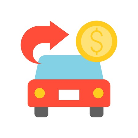 car with arrow and coin, car for cash, bank and financial related icon