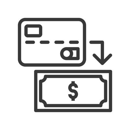 Credit card and banknote, withdraw cash from card, bank and financial related icon, editable stroke outline