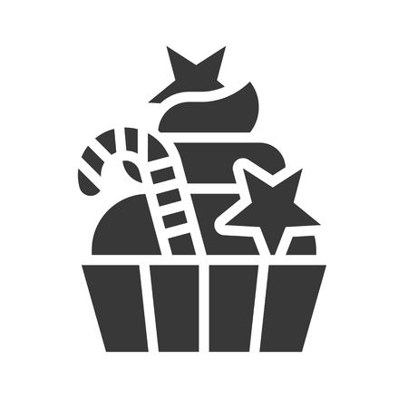 cup cake and candy cane, xmas food solid icon Ilustrace