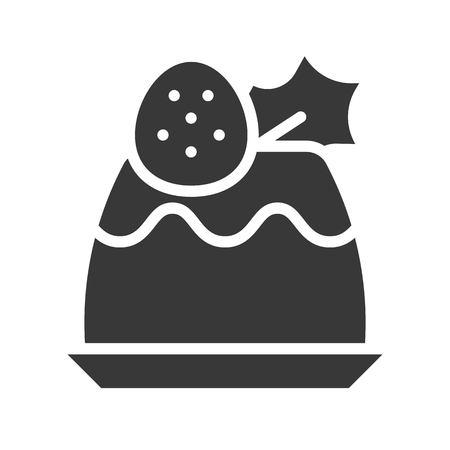 strawberry pudding icon with mistletoe, christmas food set