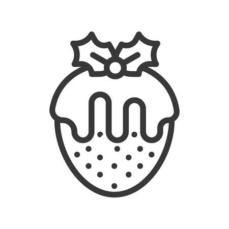 strawberry fondue with mistletoe, christmas sweets icon editable stroke