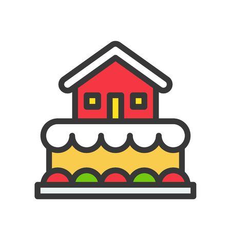 gingerbread house cake,christmas food icon. editable line