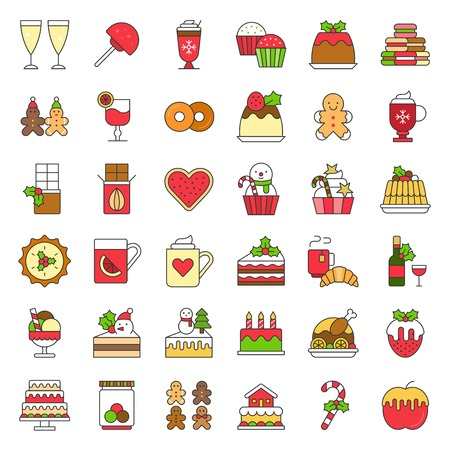 christmas and winter food icon set 1 such as wine,strawberry fondue, christmas cake decoration with mistletoe Illustration