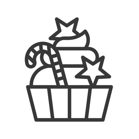 cup cake and candy cane, xmas food icon, editable outline