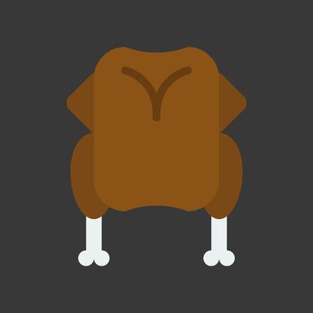whole body or roast chicken or turkey dinner christmas food theme icon Ilustração