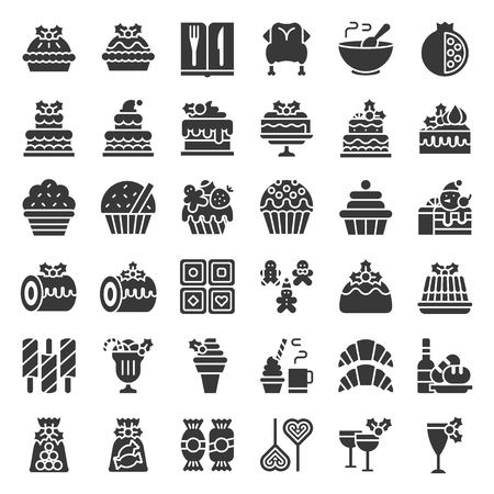 christmas food related icon set such as bakery; wine; biscuit; layered cake decorated with holly Çizim