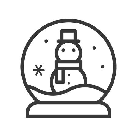 Snow globe with snowman ,Merry Christmas icon set, outline design editable stroke
