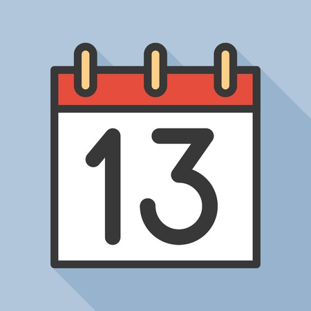 number and calendar icon, outline icon with long shadow  イラスト・ベクター素材