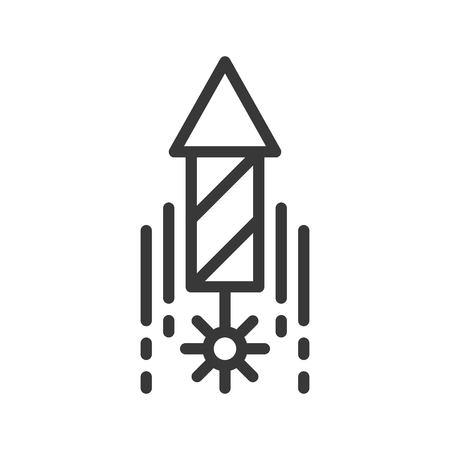 flying firework, Merry Christmas icon set, outline design editable stroke 스톡 콘텐츠 - 112611992