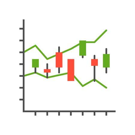 graphique en chandelier, rapport de données ou concept d'icône de marché boursier Vecteurs
